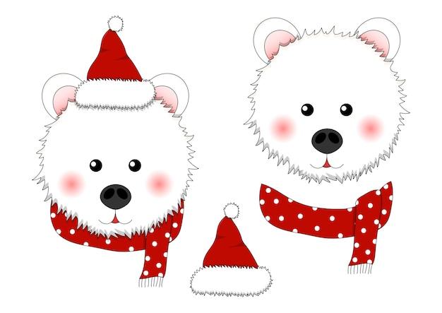 Weißer bär santa claus mit rotem schal polka dot. Premium Vektoren