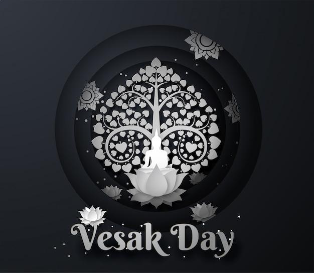 Weißer buddha auf lotos mit bodhi-baum glücklicher vesak-tageshintergrund Premium Vektoren