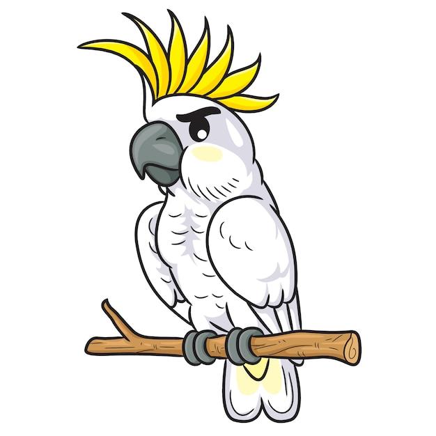 Weißer cockatoo-cartoon Premium Vektoren