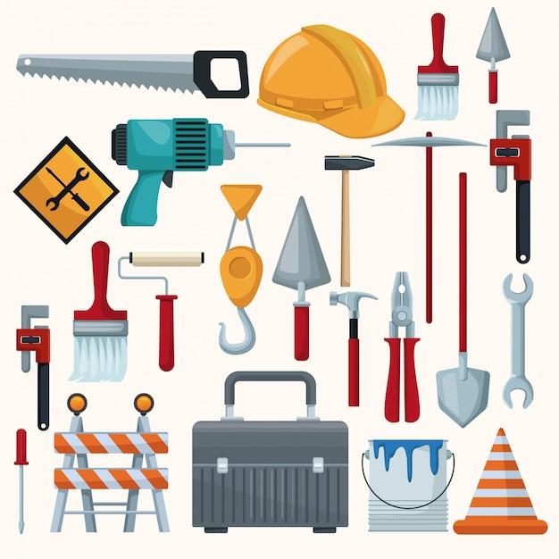 Weißer hintergrund mit bunten ikonen der werkzeuge contruction Premium Vektoren