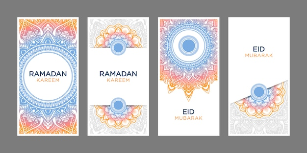 Weißer hintergrund ramadan kareem eid al fitr vertical banner set Premium Vektoren