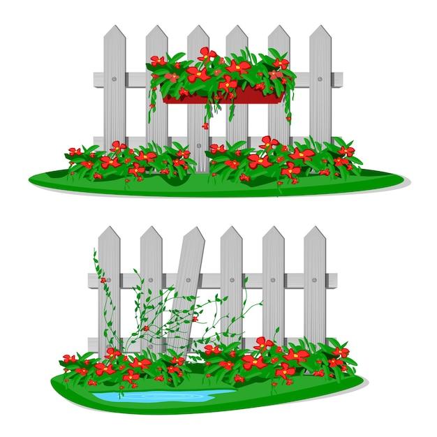 Weißer karikatur-holzzaun mit gartenblumen in hängenden töpfen. satz gartenzäune auf weißem hintergrund. holzbretter silhouette konstruktion im stil mit blumen hängen dekorationen Premium Vektoren