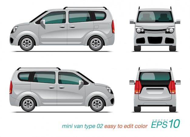Weißer kleinbus in verschiedenen ansichten Premium Vektoren