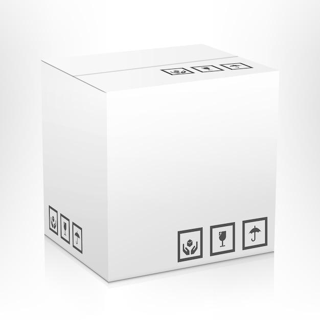 Weißer leerer geschlossener kartonlieferungs-paketverpackungskasten mit den zerbrechlichen zeichen lokalisiert Kostenlosen Vektoren