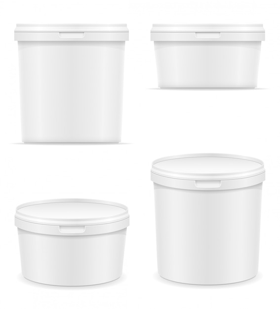 Weißer leerer plastikbehälter für eiscreme- oder nachtischvektorillustration Premium Vektoren