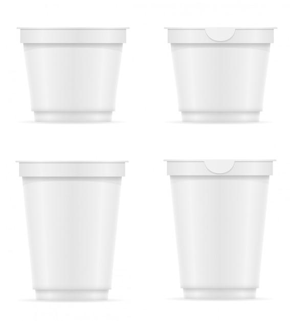 Weißer leerer plastikbehälter joghurt oder eiscreme vector illustration Premium Vektoren