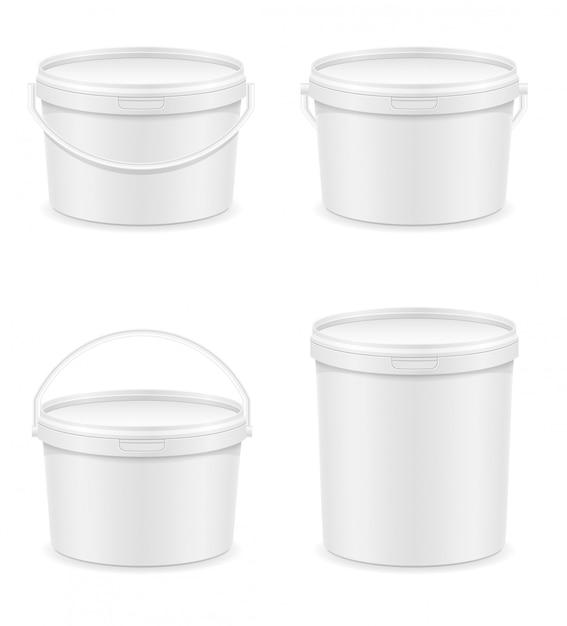 Weißer leerer plastikeimer für farbenvektorillustration Premium Vektoren