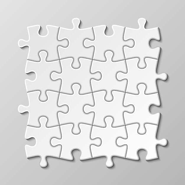 Weißer leerer puzzleteilsatz Premium Vektoren