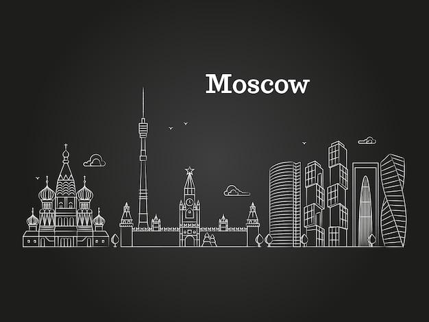 Weißer linearer russland-markstein moskaus Premium Vektoren