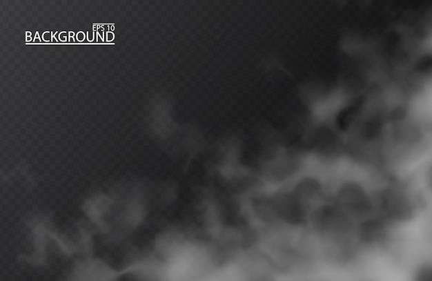 Weißer nebel oder rauch auf lokalisiertem transparentem hintergrund. smog, bewölkter himmel. Premium Vektoren