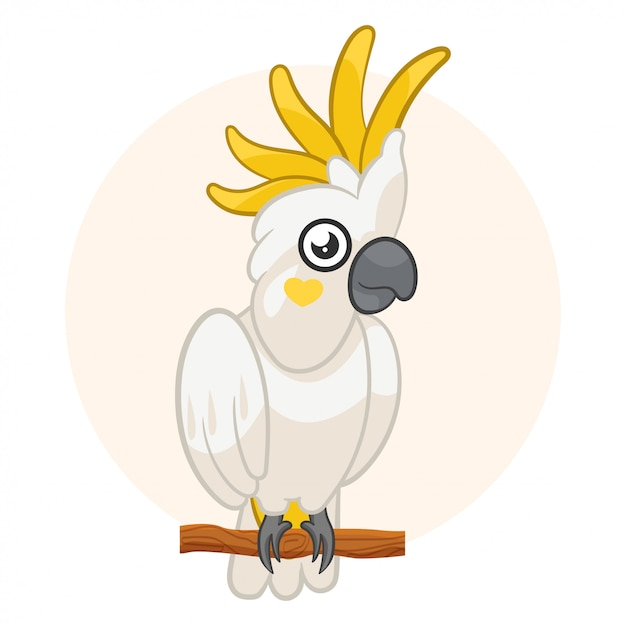 Weißer papageienkakadu lokalisiert auf türkishintergrund. exotische vögel. Premium Vektoren