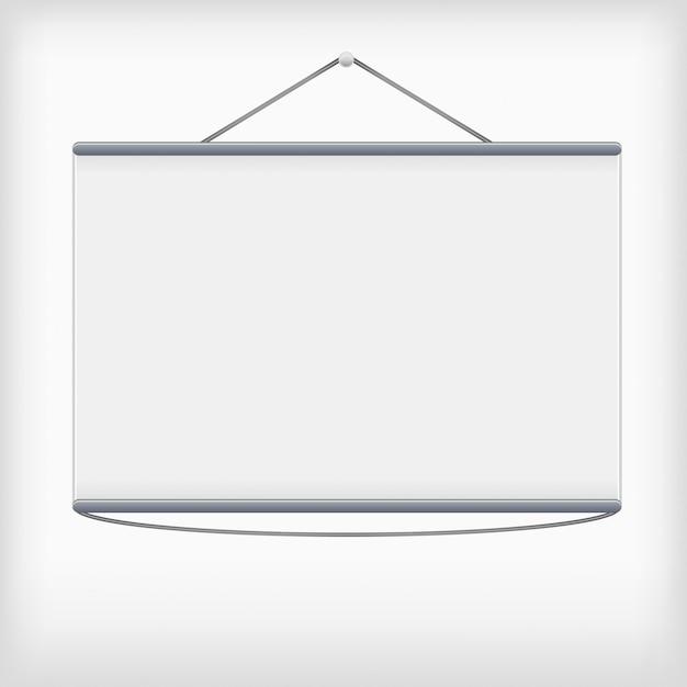 Weißer projektionsschirm, der von der wand hängt Premium Vektoren