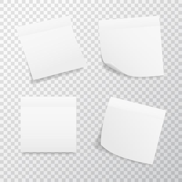Weißer quadratischer aufkleber gesetzt auf transparentem hintergrund. realistische aufkleber mit gefalteter kante. Premium Vektoren
