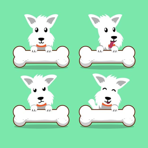 Weißer schottischer terrierhund der zeichentrickfilm-figur mit den großen knochen Premium Vektoren