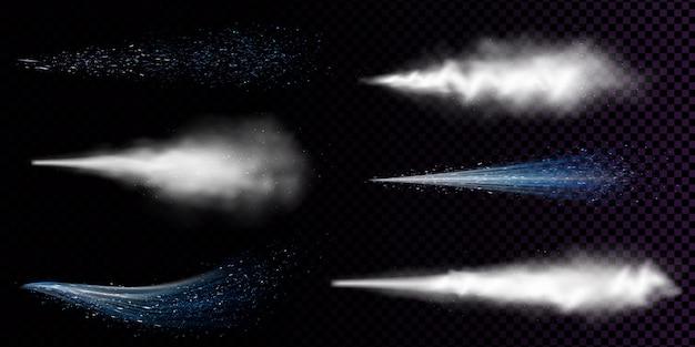 Weißer staubspray isoliert. vektor-realistischer satz von kurvenrauch oder -pulver mit partikeln fließt aus aerosol, blauem strom von sprühkosmetik, duft oder deodorant Kostenlosen Vektoren