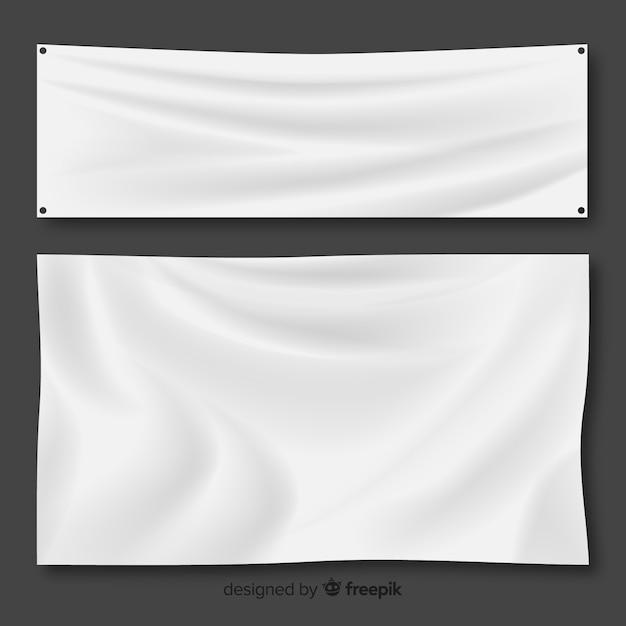 Weißer stoff-banner-set Kostenlosen Vektoren