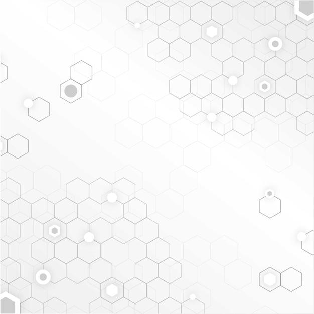 Weißer technologiehintergrund mit bienenwaben Kostenlosen Vektoren