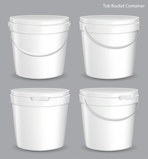 Weißer wannen-farben-plastikeimer-behälter Premium Vektoren