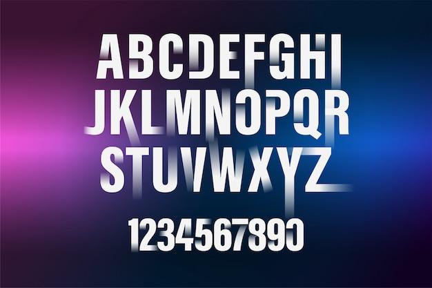 Weißes alphabet der dekorativen steigung und zahlguß. moderne typografie. verkürzt und mutig. Premium Vektoren