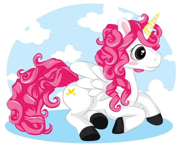 Weißes einhorn der karikatur mit dem rosa haar, das auf himmelhintergrund sitzt Premium Vektoren