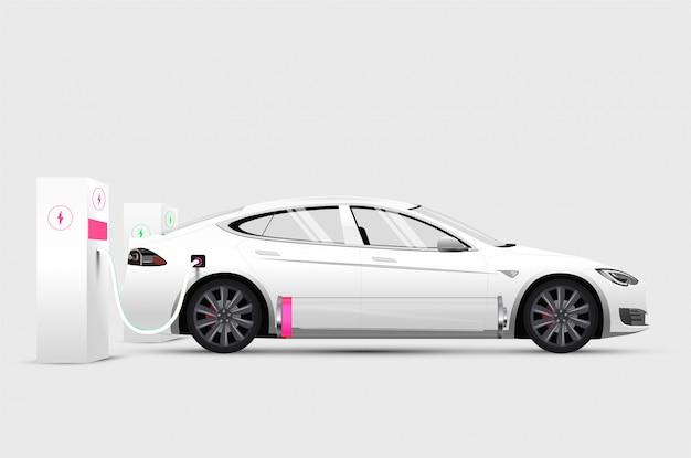 Weißes elektroauto an der ladestation mit schwacher batterie Premium Vektoren