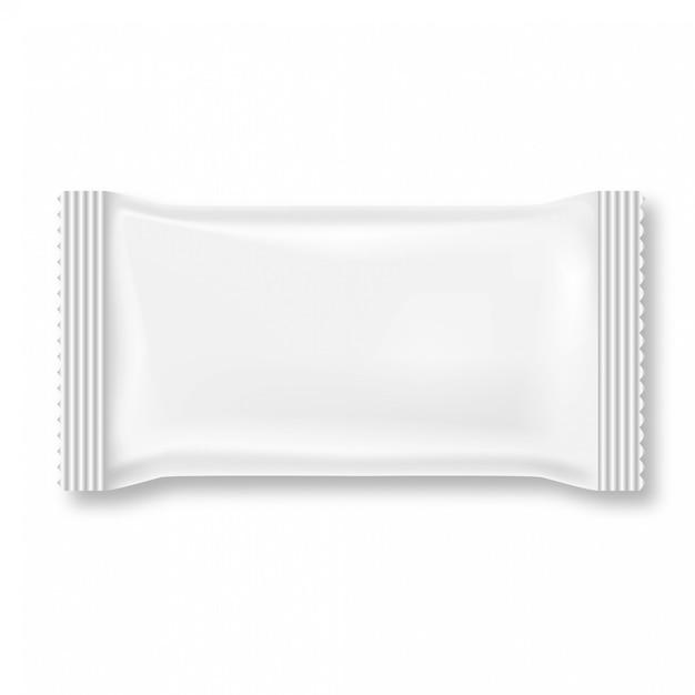 Weißes feuchtpflegetuchpaket lokalisiert auf weißem hintergrund. Premium Vektoren
