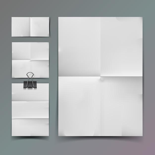 Weißes gefaltetes papier und büroklammer, illustration Premium Vektoren