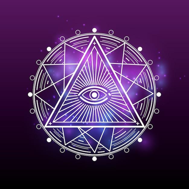 Weißes geheimnis, okkultismus, alchemie, mystische esoterik Premium Vektoren