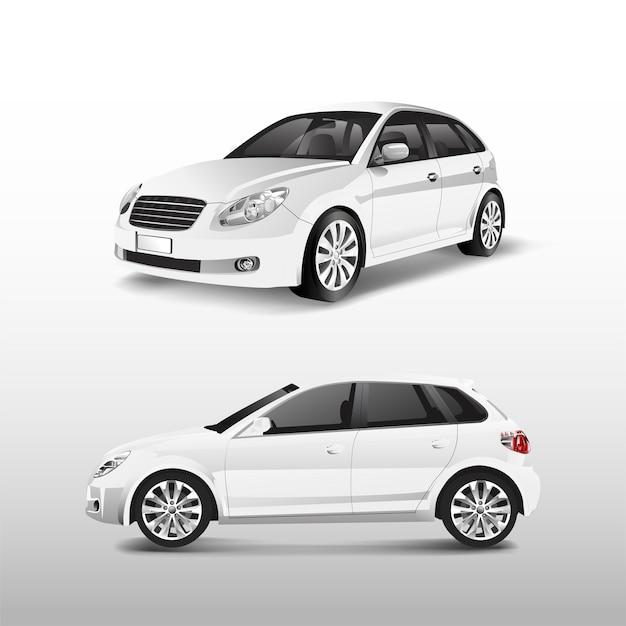 Weißes hatchbackauto lokalisiert auf weißem vektor Kostenlosen Vektoren