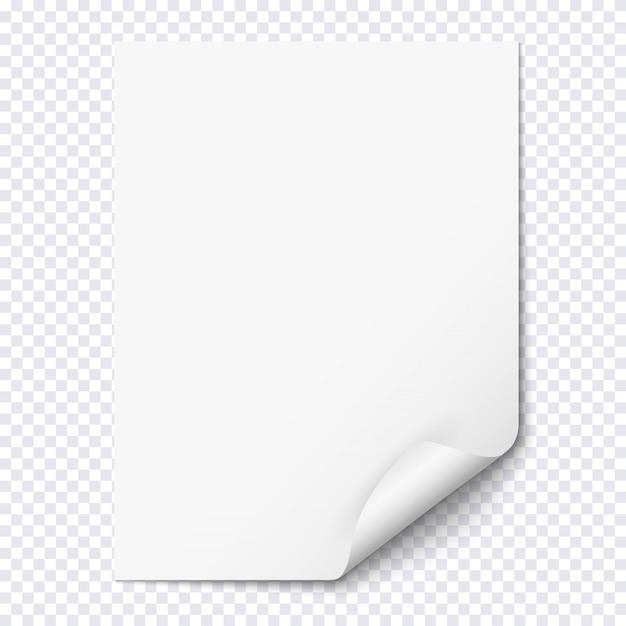 Weißes leeres papierblatt mit gekräuselter ecke Premium Vektoren