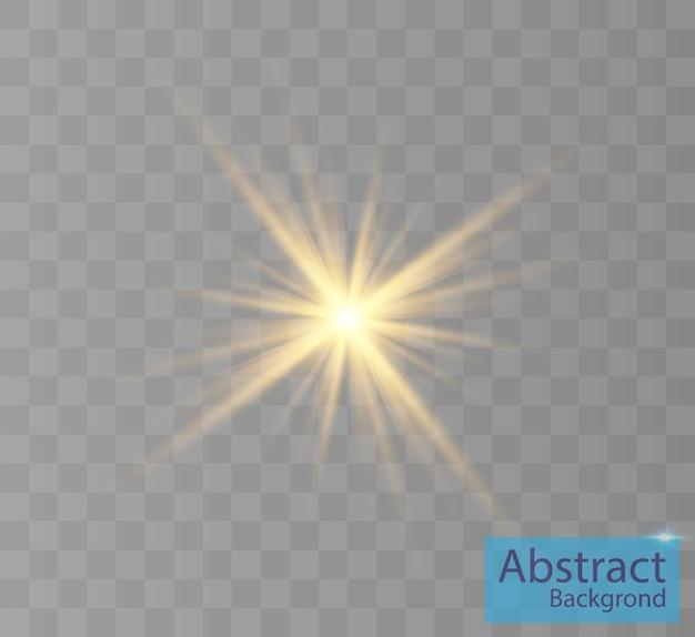 Weißes leuchtendes licht explodiert auf einem transparenten hintergrund heller stern transparenter strahlender sonnenschein Premium Vektoren
