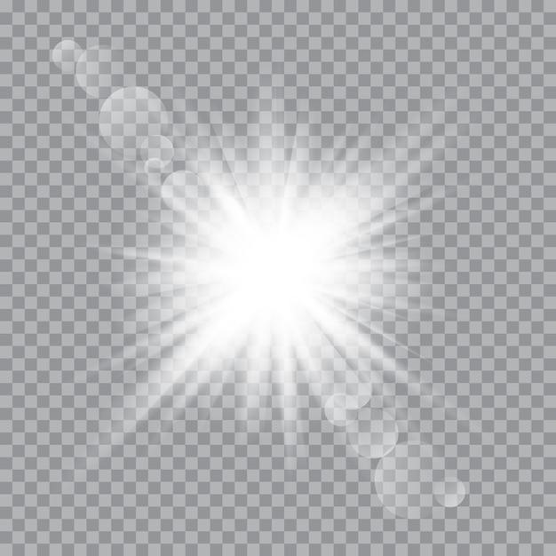 Weißes, leuchtendes licht explodierte mit transparentem licht. vector illustration für kühle effektdekoration mit strahlnscheinen. heller stern. Premium Vektoren