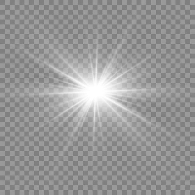 Weißes leuchtendes licht. schöner stern licht von den strahlen. sonne mit linseneffekt. heller schöner stern. Premium Vektoren