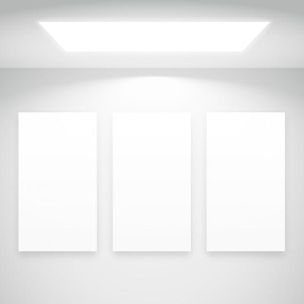 Weißes licht mit bilderrahmen Kostenlosen Vektoren