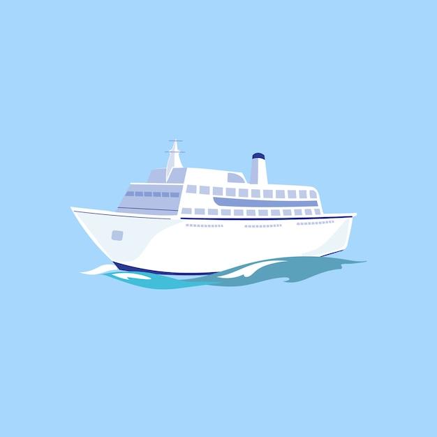 Weißes passagierschiff auf dem wasser. Premium Vektoren