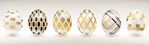 Weißes porzellan-osterei mit geometrischem dekor Premium Vektoren