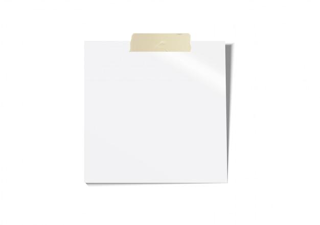 Weißes postbriefpapier mit braunem klebeband Premium Vektoren