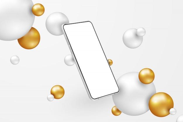 Weißes realistisches smartphone. handy mit leerem weißen bildschirm auf hellem hintergrund. moderne handyschablone in abstrakter szene mit weißen und goldenen kugeln Premium Vektoren
