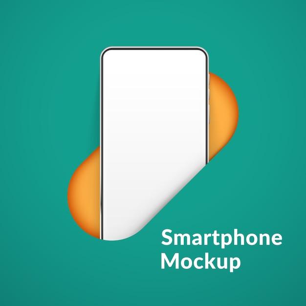Weißes realistisches smartphone im loch. handy mit leerem weißen bildschirm. moderne handyschablone auf grünem hintergrund. abbildung des gerätebildschirms Premium Vektoren