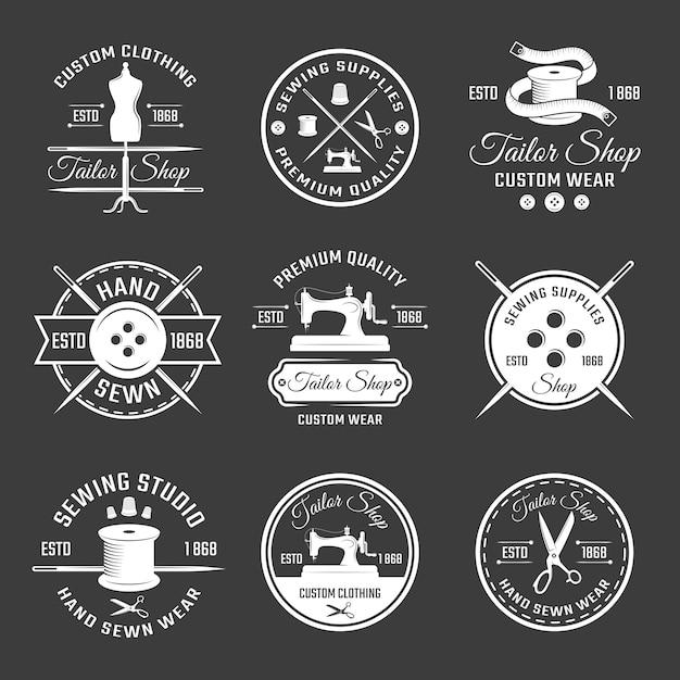 Weißes schneider-emblem-set Kostenlosen Vektoren