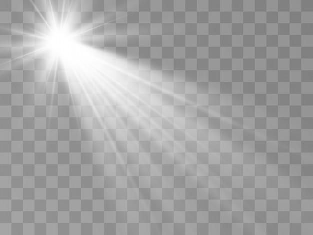 Weißes schönes licht explodiert mit einer transparenten explosion. heller stern. transparenter glanz des glanzgradienten, heller blitz. Premium Vektoren
