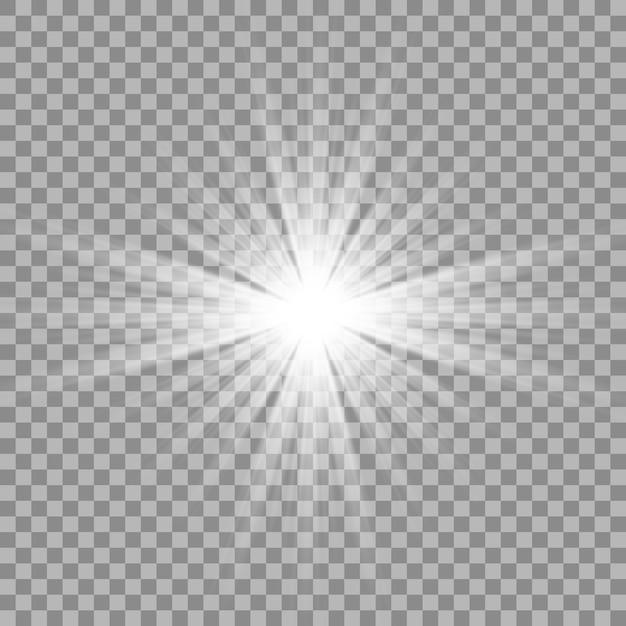 Weißes schönes licht explodiert mit einer transparenten explosion. Premium Vektoren