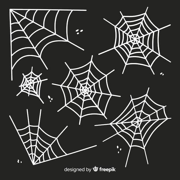 Weißes spinnennetzschattenbild lokalisiert auf dunklem hintergrund Kostenlosen Vektoren
