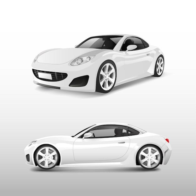 Weißes sportauto lokalisiert auf weißem vektor Kostenlosen Vektoren