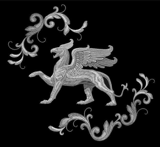 Weißes strukturiertes stickereigreif-textilfleckendesign. mode dekoration ornament stoff drucken. Premium Vektoren