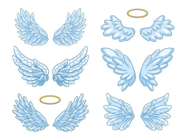 Weit verbreitete blaue engelsflügel mit goldenem halo. Premium Vektoren