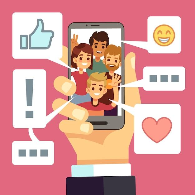 Weitergabe von videoinhalten auf dem smartphone-bildschirm. freunde kommentieren und mögen vlog. video-streaming-vektor-konzept Premium Vektoren