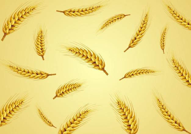 Weizen getrennt im goldenen hintergrund Premium Vektoren