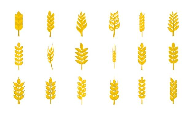 Weizen-icon-set. flacher satz der weizenvektor-ikonensammlung lokalisiert Premium Vektoren