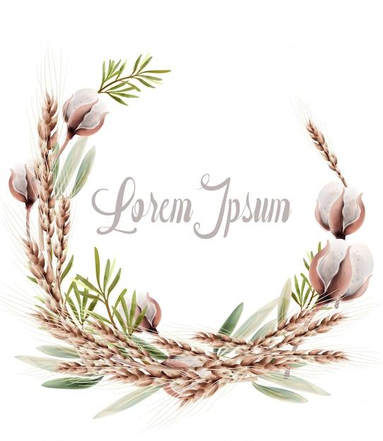 Weizenähren kranz karte. rustikales herbstplakat der weinlese. herbst boho dekorationen Premium Vektoren